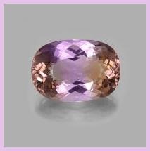 Oval Ametrine gem on grey background with pink border