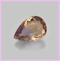 Ametrine gem on grey background with pink border
