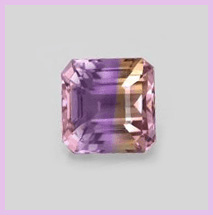 Square Ametrine gem on grey background with pink border